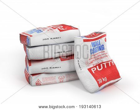 Putty bags stack. Paper sacks isolated on white background. 3d illustration