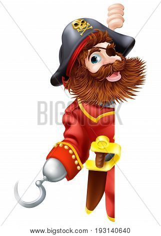 Pirate cartoon character with sword and hook looking around a sign