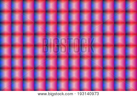 Seamless pattern of glass convex mosaic, volumetric checkers, glass blocks. Holographic effect. Vector illustration