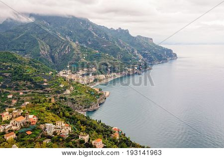 View of the Amalfi Coast from the garden of Villa Rufolo on a cloudy and rainy autumn day - Ravello Campania Italy