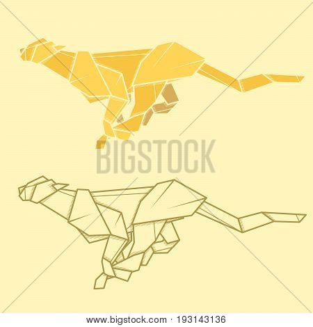Set vector simple illustration paper origami and contour drawing of cheetah.