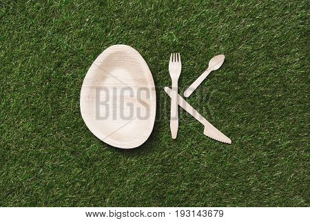 Top View Of Wooden Cutlery Items And Plate In Shape Of Ok Sign On Grass