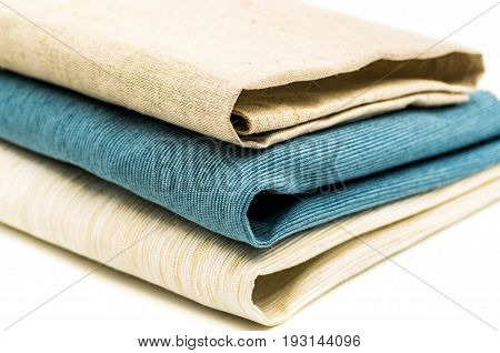 three linen table cloth on white background