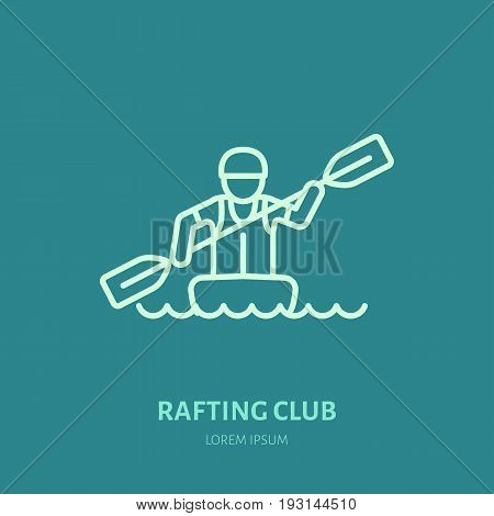 Rafting, kayaking flat line icon. Vector illustration of water sport - rafter with paddle in river boat. Linear sign, summer recreation pictograms for paddling gear store.
