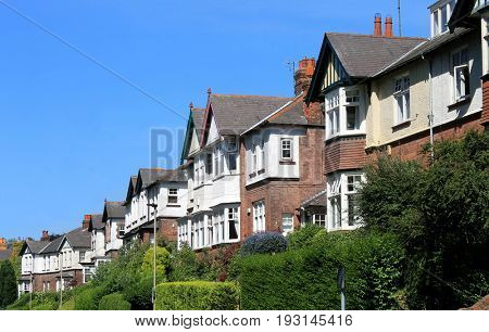 Row of modern houses in street, Scarborough, England.