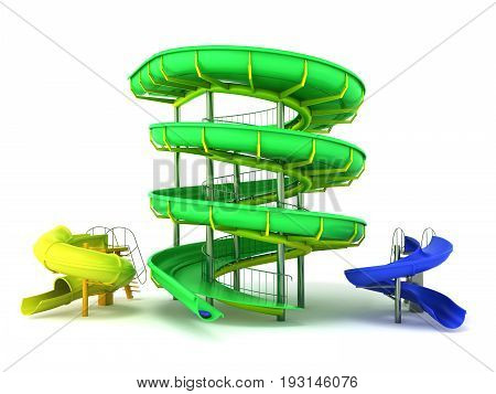 Waterpark Slides Green Yellow Blue 3D Rendering On White Background