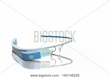 Interactive Glasses 3D Render On White Glossy Stain