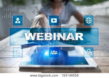 Webinar. E-Learning Online Education concept. Personal development. Virtual screen