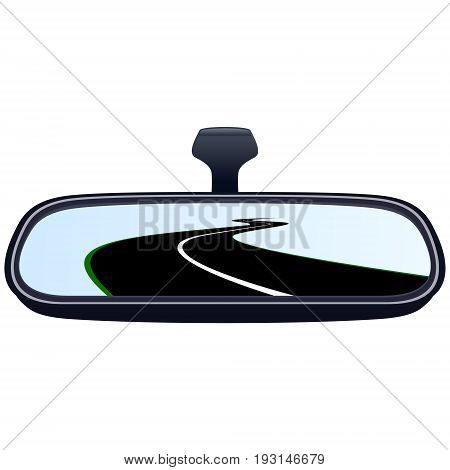 Reflection of the highway in a car mirror. The illustration on a white background.