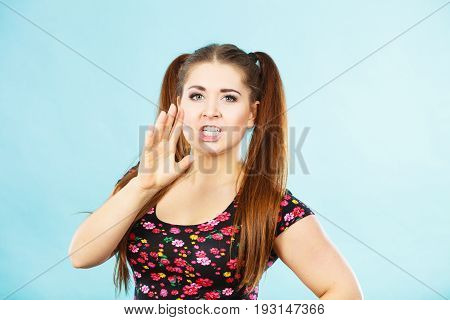 Angry Teenager Girl With Brown Hair Ponytails