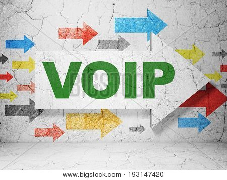 Web development concept:  arrow with VOIP on grunge textured concrete wall background, 3D rendering