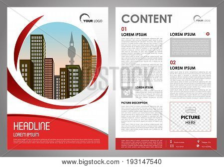 Vector Flyer, Corporate Business, Annual Report, Brochure Design And Cover Presentation With Red Cir