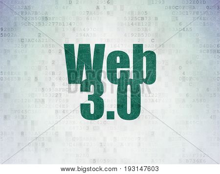 Web design concept: Painted green word Web 3.0 on Digital Data Paper background
