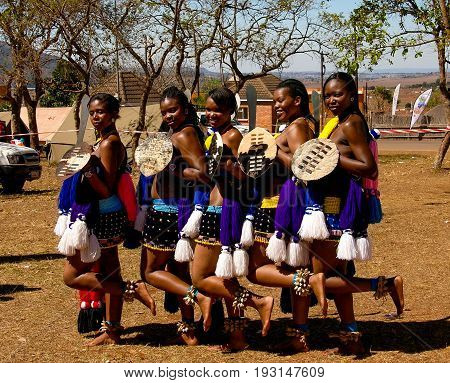 Women in traditional costumes before the Umhlanga aka Reed Dance ceremony - 01-09-2013 Lobamba Swaziland