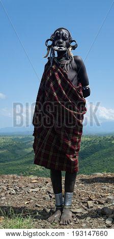 Mursi tribe woman - 05 october 2012 Omo valley Ethiopia