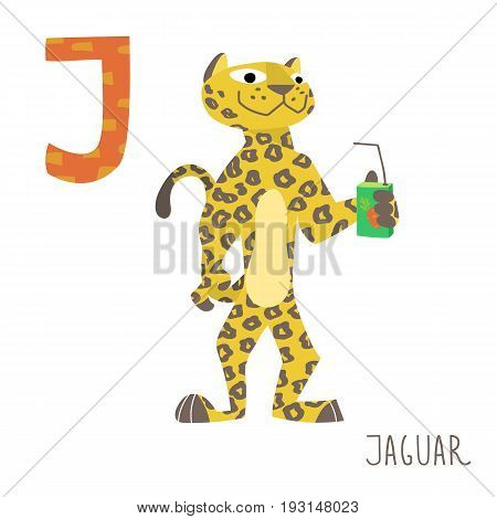 Vector kids illustration of cute animal alphabet. Letter J for the Jaguar and Juice . Cartoon little jaguar drinking juice isolated on white background for child illustration, baby shower, birtday card, invitiation, T-shirt. Preschool and school reading s