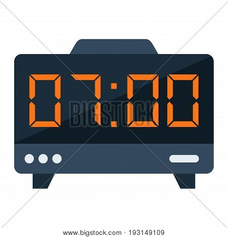 Digital clock flat icon, electronic and alarm, vector graphics, a colorful solid pattern on a white background, eps 10.