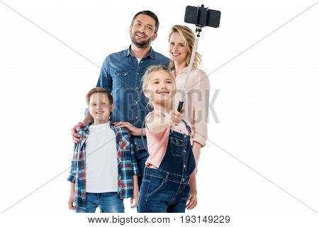 Happy Family With Two Children Taking Selfie With Smartphone Isolated On White