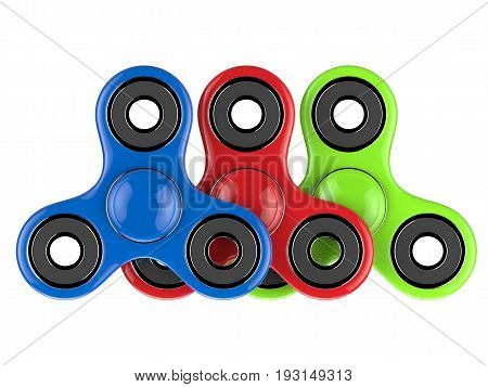 The colorful glossy fidget SPINNER stress relieving toy on white isolated background. 3d illustration.