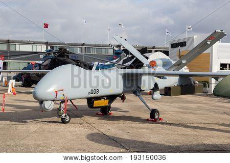 PARIS FRANCE - JUN 23 2017: Turkish Aerospace Industries (TAI) Anka medium-altitude long-endurance military UAV drone at the Paris Air Show 2017