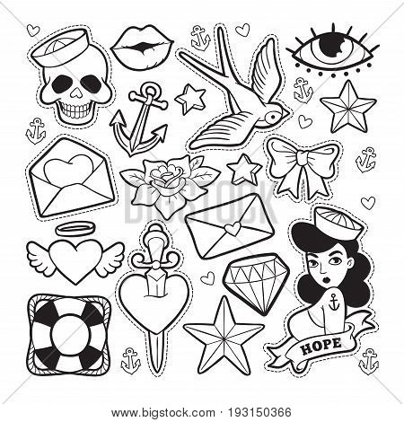old school fashion vector photo free trial bigstock Goth Heart Border old school fashion patch badges with heart cherry dagger and other elements vector