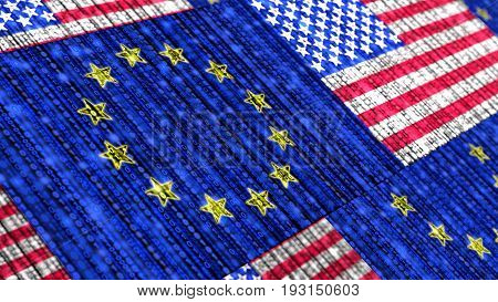 European and us flag composed of binary datastreams cybersecurity concept 3D illustration