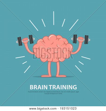 Brain power. Brain exercise. Cartoon brain character lifting dumbbells. Education concept. Vector illustration in flat style.