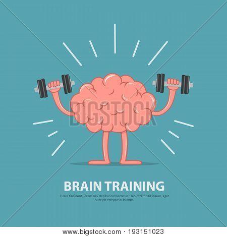 Brain power. Brain exercise. Cartoon brain character lifting dumbbells. Education concept. Vector illustration in flat style.