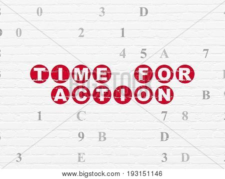 Timeline concept: Painted red text Time for Action on White Brick wall background with Hexadecimal Code