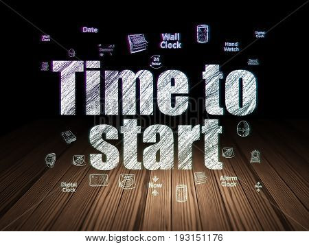 Time concept: Glowing text Time to Start,  Hand Drawing Time Icons in grunge dark room with Wooden Floor, black background