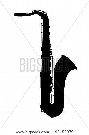 Saxophone. Jazz musical instrument silhouette isolated on white background