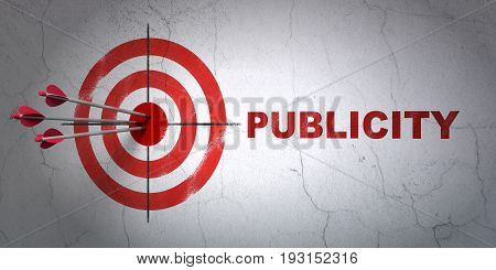Success marketing concept: arrows hitting the center of target, Red Publicity on wall background, 3D rendering