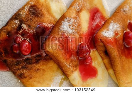 fragrant and sweet pancakes with syrup on a plate