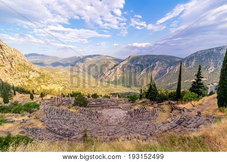 Ancient Greek Delphi Amphitheatre overlooking the mountains