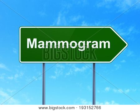 Medicine concept: Mammogram on green road highway sign, clear blue sky background, 3D rendering