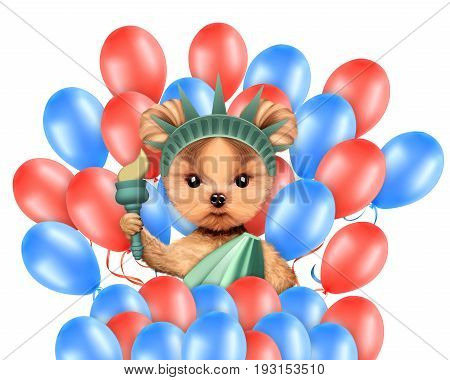 Funny dog holding torch and surrounded by balloons. Concept of 4th of July and Independence Day, Realistic 3D illustration.