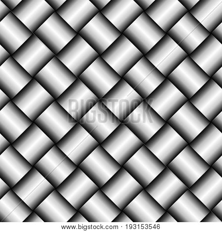 Vector Metal Silver Or Iron Texture. Shiny Abstract Background With Square Details. Seamless Pattern