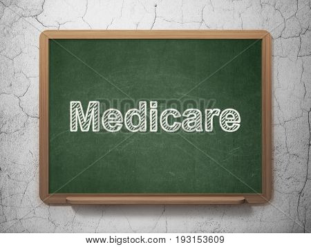 Healthcare concept: text Medicare on Green chalkboard on grunge wall background, 3D rendering