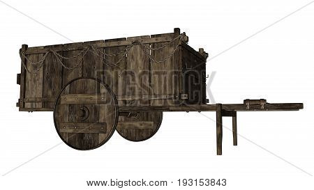 Vintage wooden wagon or cart isolated in white background - 3D render