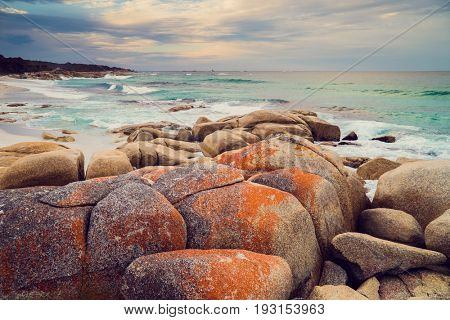 Beautiful landscape of the Bay of Fires conservation Binalong Bay to Eddystone Point, East Coast of Tasmania in Australia. .