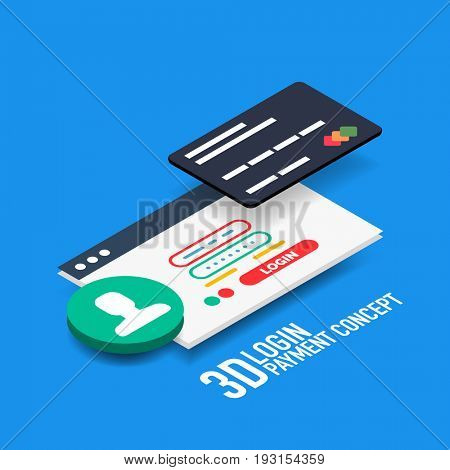 login username and password internet payment concept with bank credit card, modern isometric flat style design
