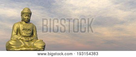 Golden buddha meditating in cloudy sky - 3D render