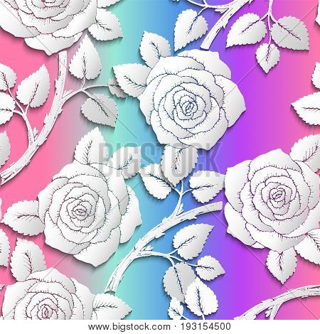 Paper Cut Art Flower Background Seamless Pattern. Origami Rose Flowers With Branches On Rainbow Colo