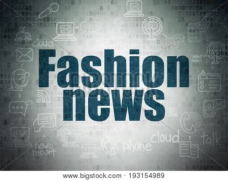 News concept: Painted blue text Fashion News on Digital Data Paper background with  Scheme Of Hand Drawn News Icons