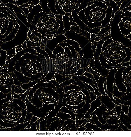 Seamless Pattern With Vector Gold Glitter Roses. Vector Illustration Of A Silhouette Of A Flower, Co