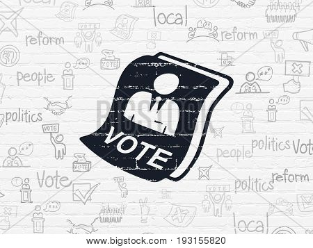 Political concept: Painted black Ballot icon on White Brick wall background with  Hand Drawn Politics Icons