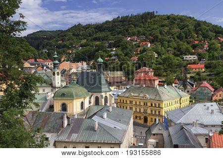 Historic mining town Banska Stiavnica by day, Slovakia, UNESCO