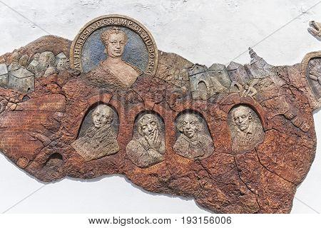 Banska Stiavnica, Slovakia - July 22 : close up on sculpture of famous people of Banska Stiavnica on July 22, 2016 in Banska Stiavnica, Slovakia