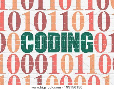 Software concept: Painted green text Coding on White Brick wall background with Binary Code