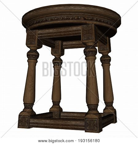 Vintage wooden stool isolated in white background - 3D render